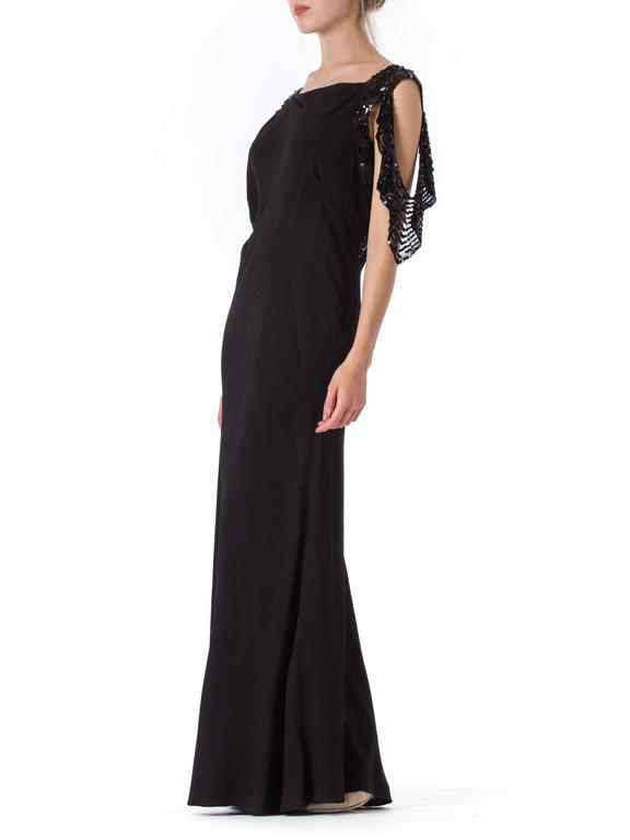 Bias Cut 1930s Gown with Sequin Sleeves For Sale 2