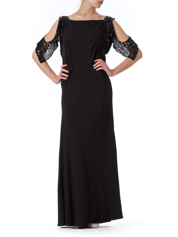 Bias Cut 1930s Gown with Sequin Sleeves 2