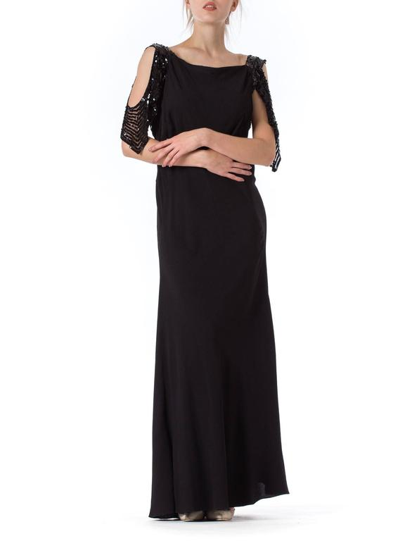 Black Bias Cut 1930s Gown with Sequin Sleeves For Sale