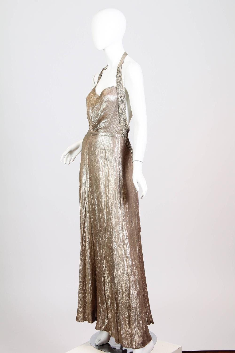 Spectacular Backless 1930s Silver Lamé Gown at 1stdibs