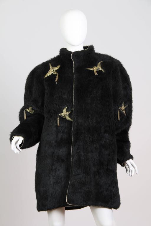 Kansai Yammamoto Faux Fur Coat with Gold Swallows 2
