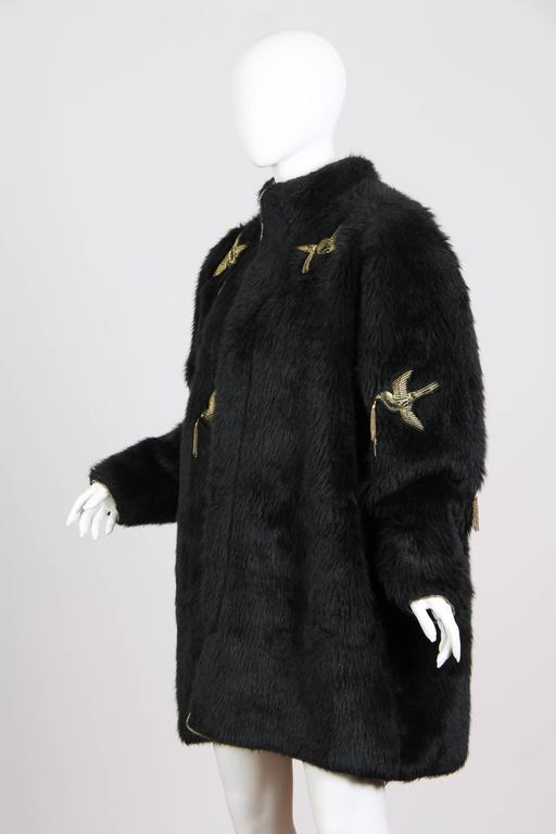 Kansai Yammamoto Faux Fur Coat with Gold Swallows 4