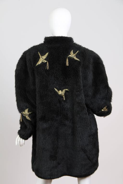 Kansai Yammamoto Faux Fur Coat with Gold Swallows 5