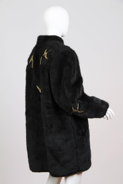 Kansai Yammamoto Faux Fur Coat With Gold Swallows At 1stdibs