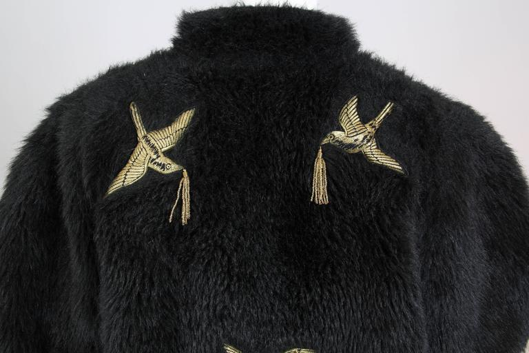 Kansai Yammamoto Faux Fur Coat with Gold Swallows 7