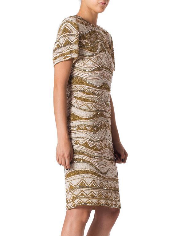 Beige Naeem Khan Bead Encrusted Cocktail Dress For Sale