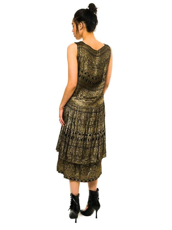 1920s Lamé Dress with Sanskirt In Excellent Condition For Sale In New York, NY