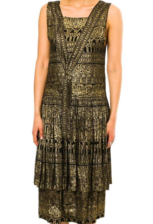 Black 1920s Lamé Dress with Sanskirt For Sale