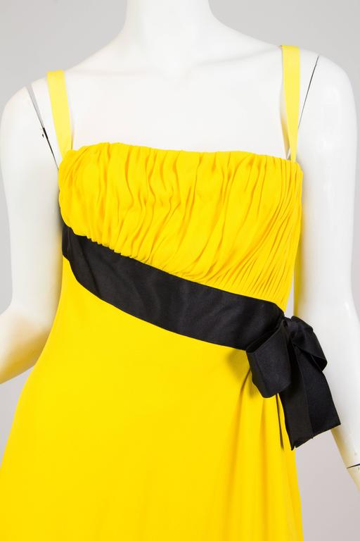 Chanel Yellow Chiffon High Slit Dress For Sale 1