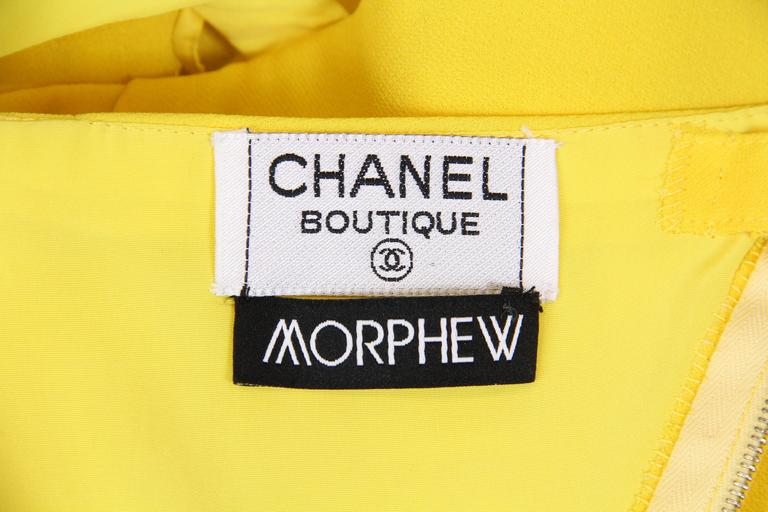 Chanel Yellow Chiffon High Slit Dress For Sale 5