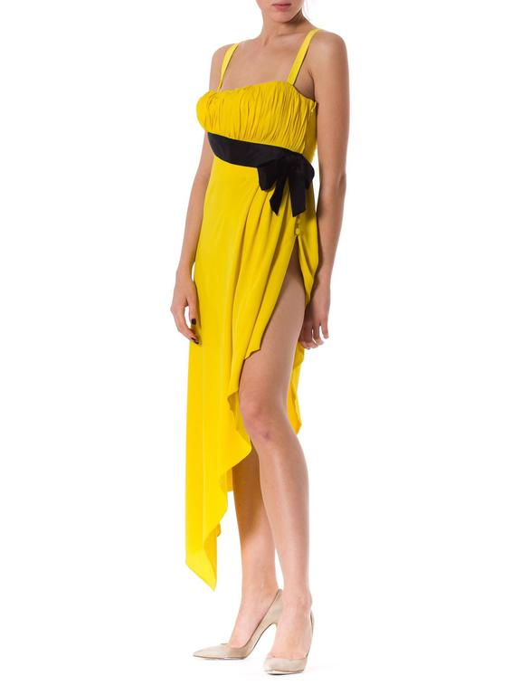 Chanel Yellow Chiffon High Slit Dress In Excellent Condition For Sale In New York, NY