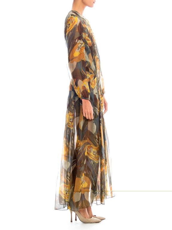 Brown Pauline Trigere Silk Organza Dress  For Sale