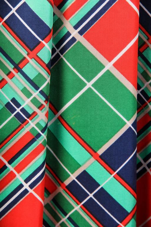 1970s Richilene Silk Plaid Dress For Sale 2
