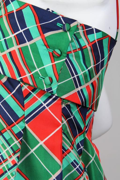1970s Richilene Silk Plaid Dress For Sale 3