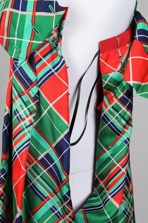 1970s Richilene Silk Plaid Dress For Sale 4