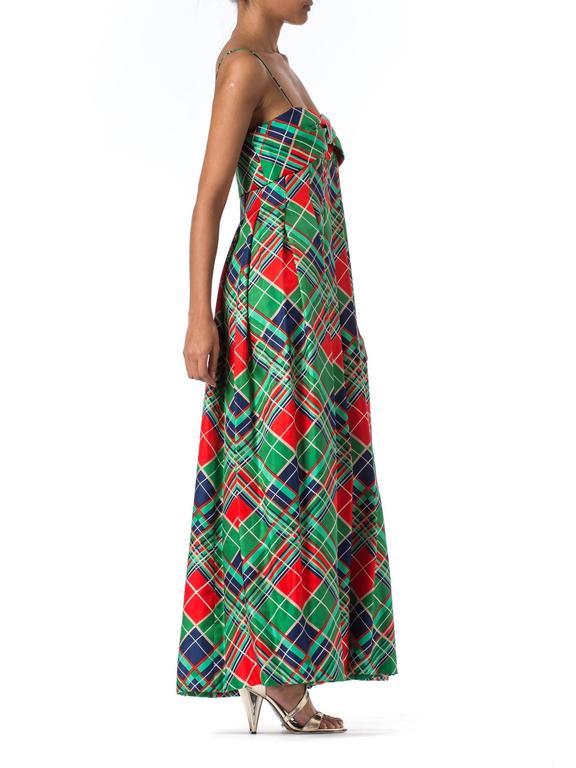 Women's 1970s Richilene Silk Plaid Dress For Sale