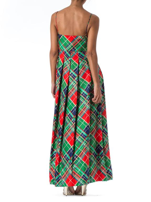 1970s Richilene Silk Plaid Dress In Excellent Condition For Sale In New York, NY