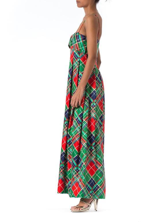 Black 1970s Richilene Silk Plaid Dress For Sale