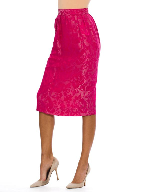 Red Fuchsia Silk Skirt from Lanvin For Sale