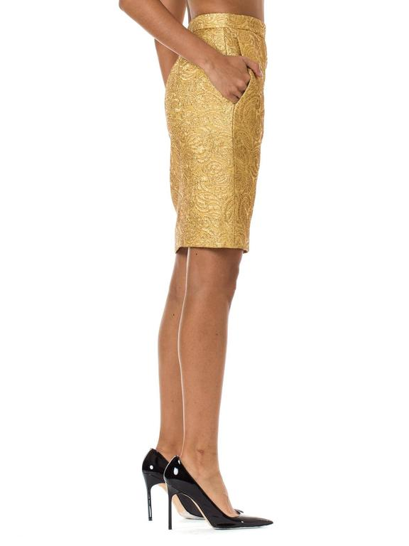 Yves Saint Laurent Gold Lamé Skirt In Excellent Condition For Sale In New York, NY