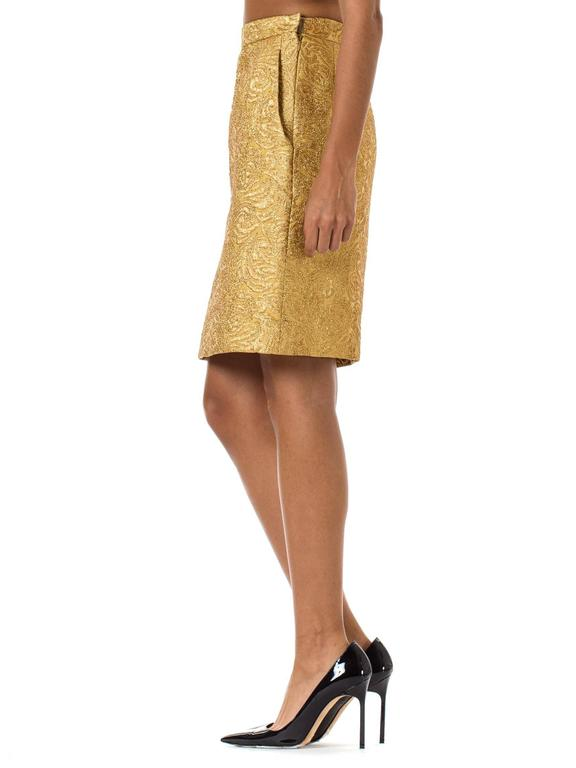 Yves Saint Laurent Gold Lamé Skirt 5