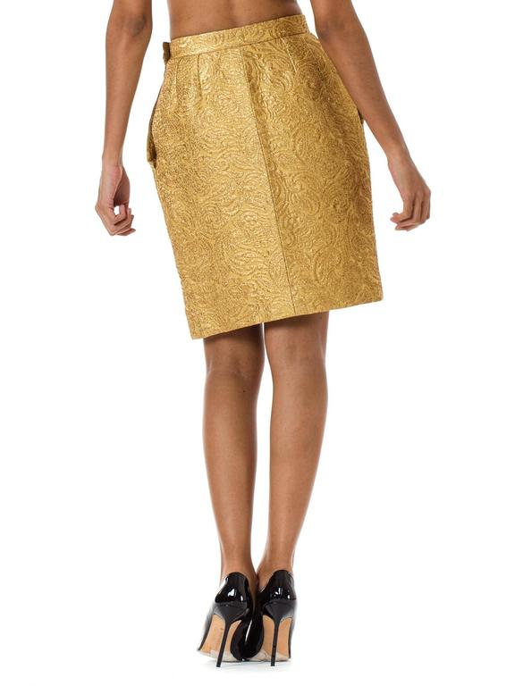 Yves Saint Laurent Gold Lamé Skirt 4