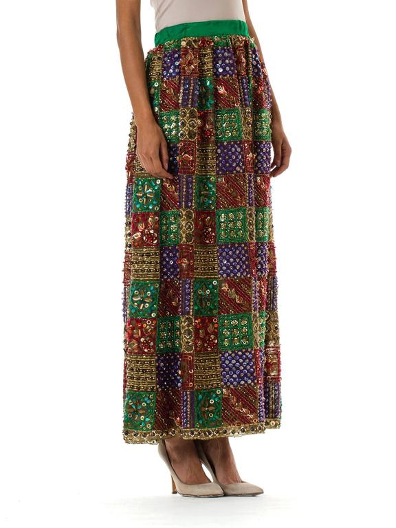 Brown Malcolm Starr Fully Beaded and Embroidered Maxi-Skirt For Sale