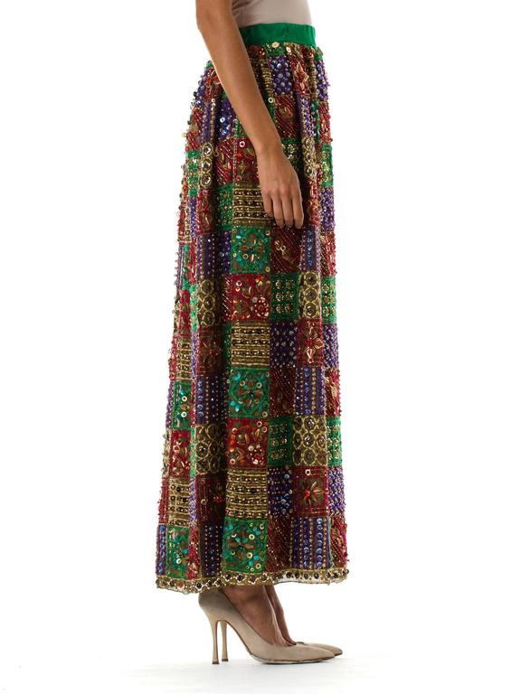 Malcolm Starr Fully Beaded and Embroidered Maxi-Skirt In Good Condition For Sale In New York, NY