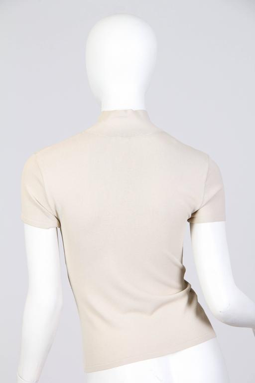 1990S VALENTINO Beige Viscose Blend Jersey Knit Top For Sale 1