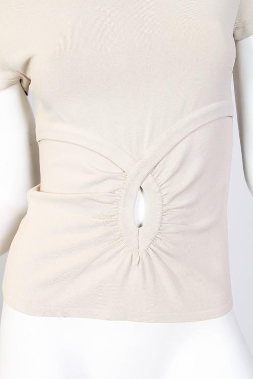 1990S VALENTINO Beige Viscose Blend Jersey Knit Top For Sale 2