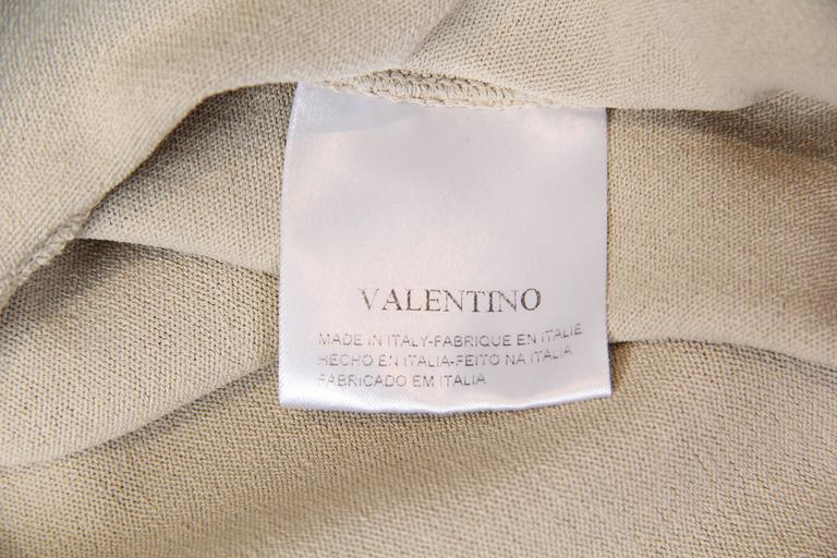 1990S VALENTINO Beige Viscose Blend Jersey Knit Top For Sale 4