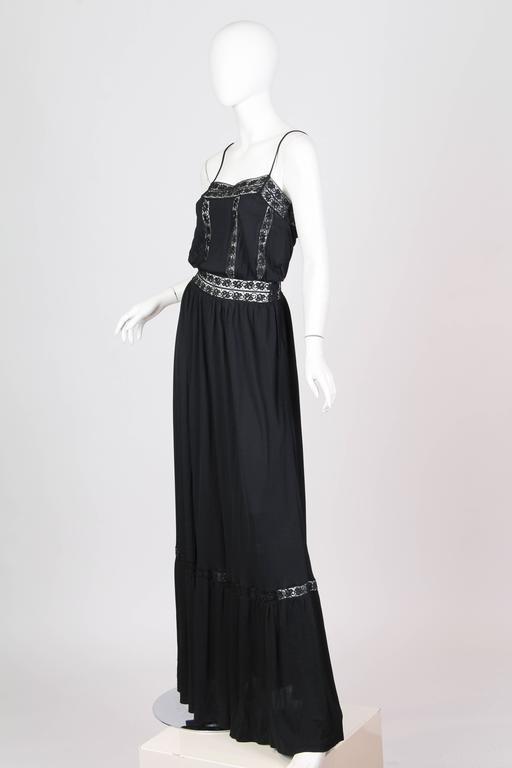 Early Vicky Tiel 1970s Lace and Silk Jersey Boho Dress 2