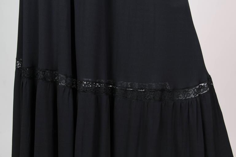 Early Vicky Tiel 1970s Lace and Silk Jersey Boho Dress 5