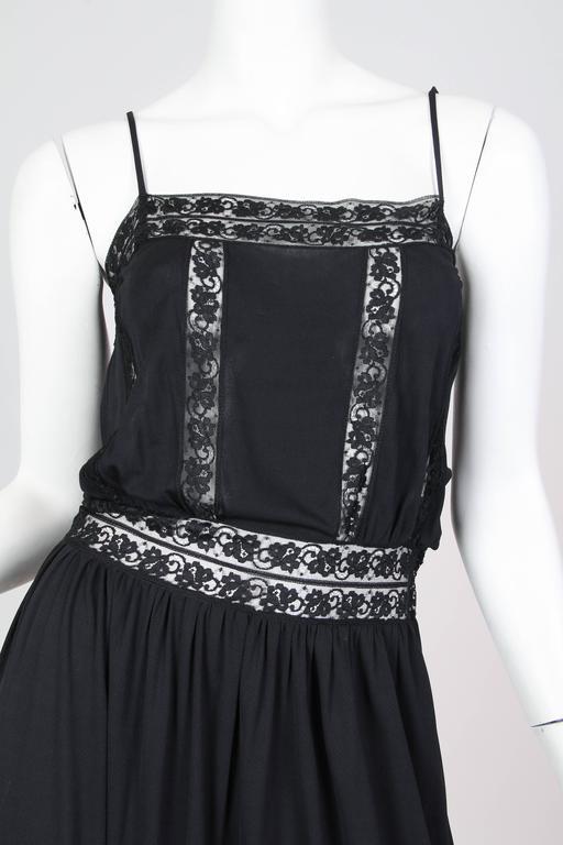 Early Vicky Tiel 1970s Lace and Silk Jersey Boho Dress 7