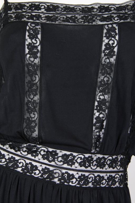 Early Vicky Tiel 1970s Lace and Silk Jersey Boho Dress 8
