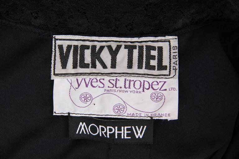 Early Vicky Tiel 1970s Lace and Silk Jersey Boho Dress 9