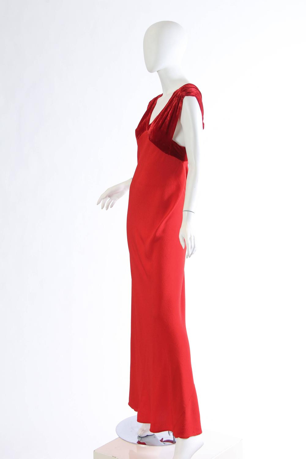 1930s Backless Red Bias Cut Gown For Sale at 1stdibs
