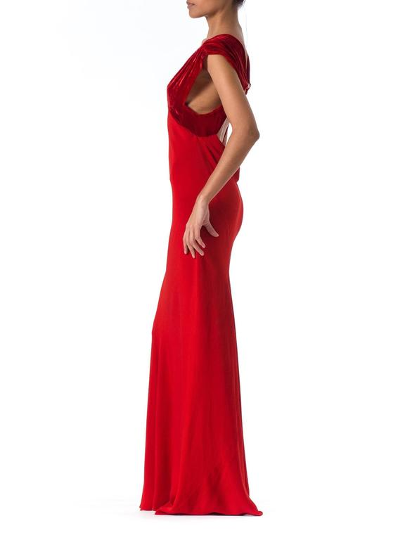 1930s Backless Red Bias Cut Gown For Sale 2