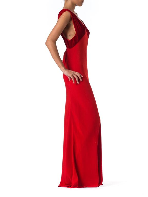 Women's 1930s Backless Red Bias Cut Gown For Sale