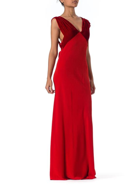 1930s Backless Red Bias Cut Gown In Excellent Condition For Sale In New York, NY