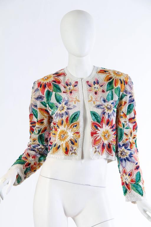 Naeem Khan Tropical Beaded Bolero In New never worn Condition For Sale In New York, NY