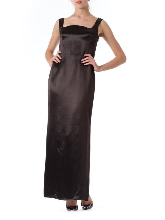 Black 1990s Gianni Versace Couture Satin Gown  For Sale