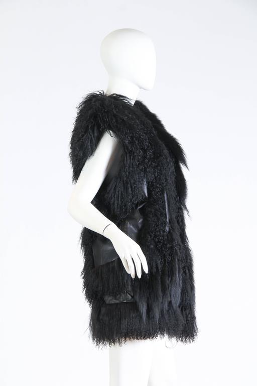Black Avant Guard Lamb Fur and Leather Vest For Sale