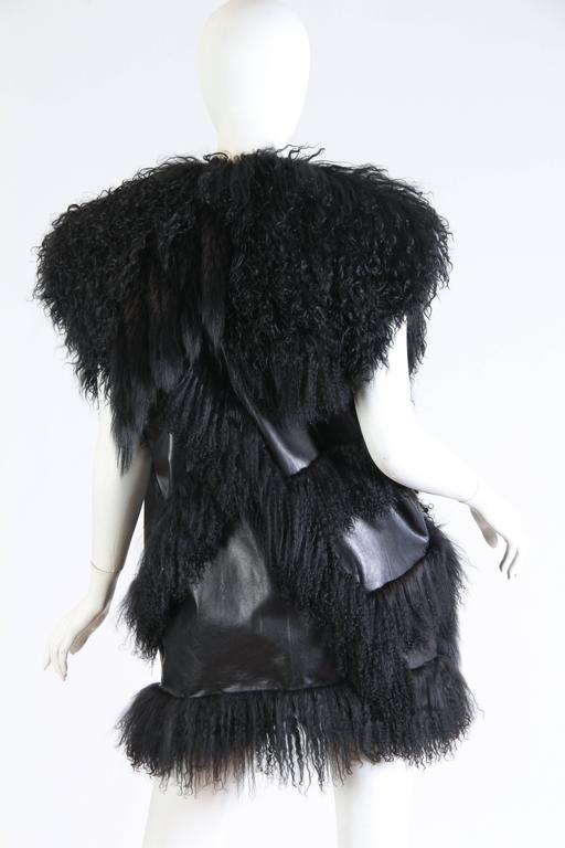 Avant Guard Lamb Fur and Leather Vest In Excellent Condition For Sale In New York, NY