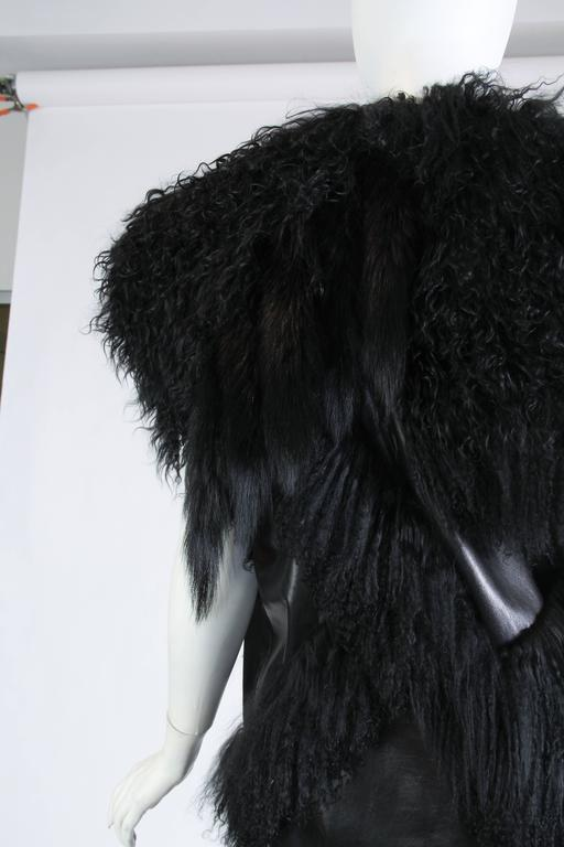 Women's Avant Guard Lamb Fur and Leather Vest For Sale