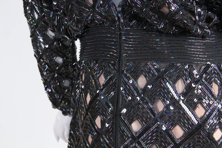 Bob Mackie Beaded Sequin Paillette Gown 9