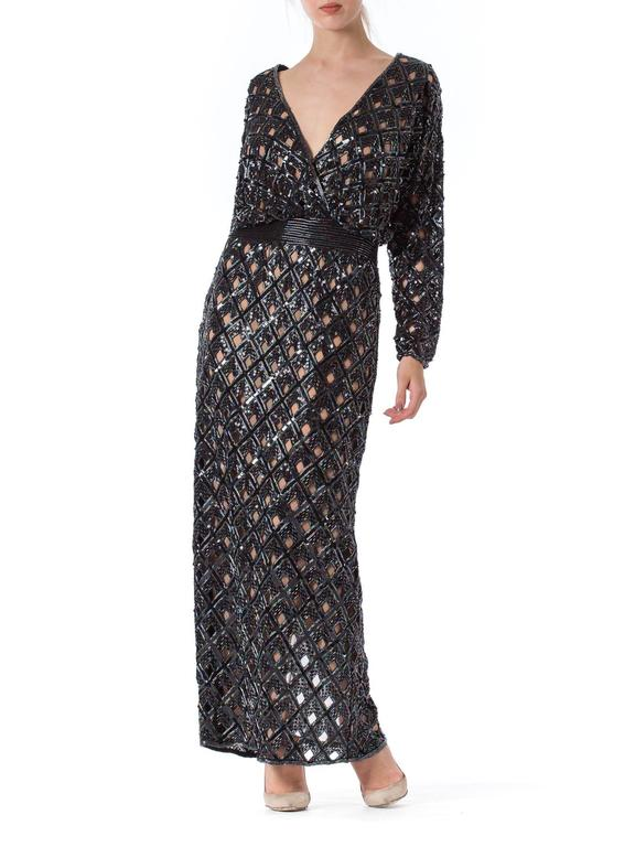 Bob Mackie Beaded Sequin Paillette Gown 3