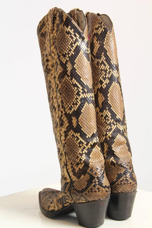 Tall Snakeskin Cowboy Boots From Larry Mahan At 1stdibs