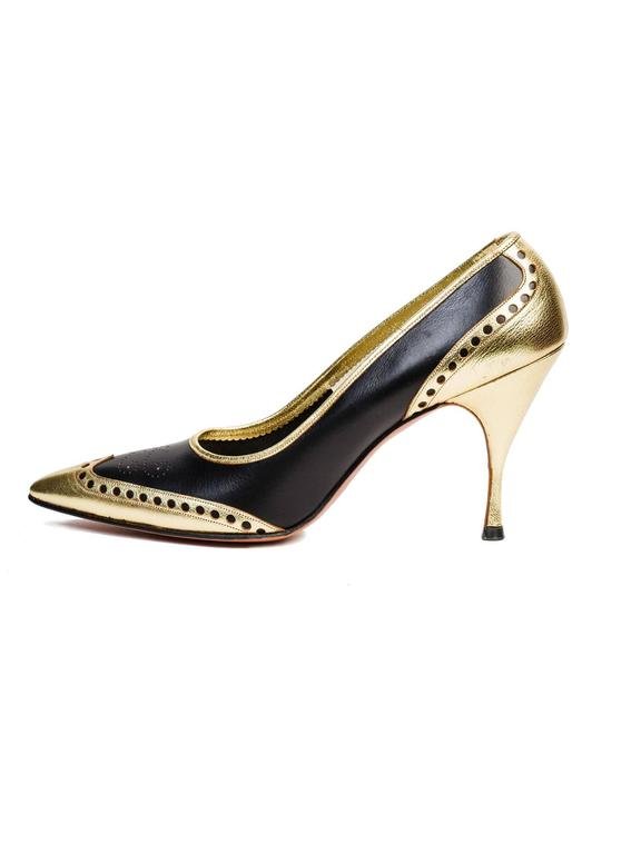 Women's 1950s Gold Wingtip Stilettos For Sale