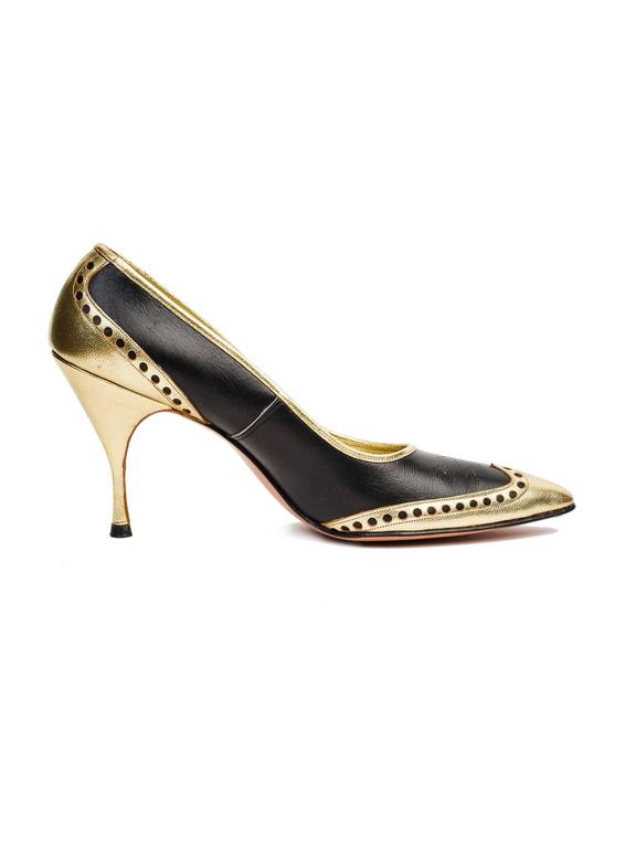 1950s Gold Wingtip Stilettos For Sale 1
